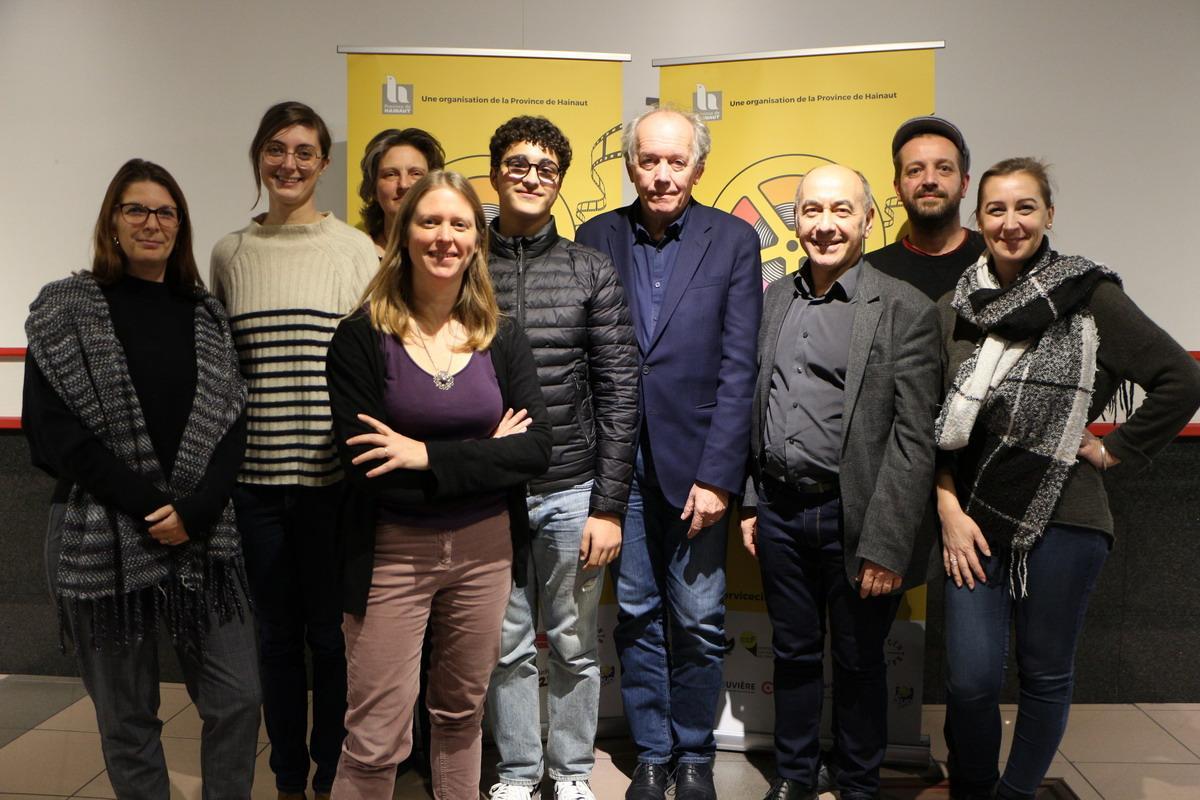 L'équipe du Service Cinéma avec Luc Dardenne et Idir Ben Addi